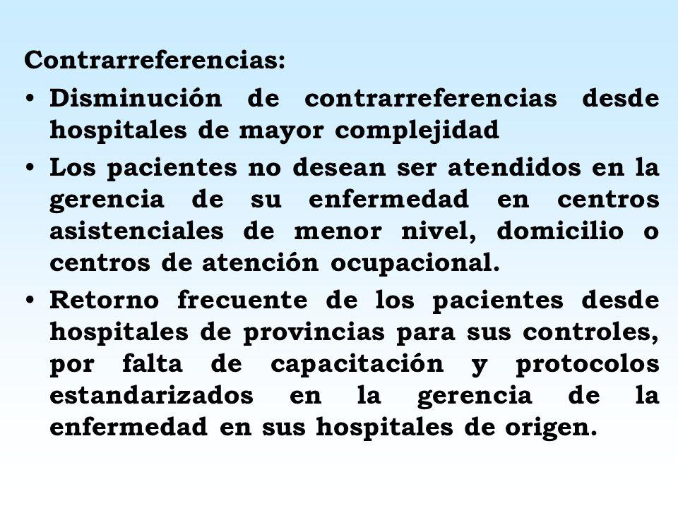 Contrarreferencias: Disminución de contrarreferencias desde hospitales de mayor complejidad.