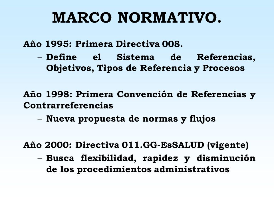MARCO NORMATIVO. Año 1995: Primera Directiva 008.