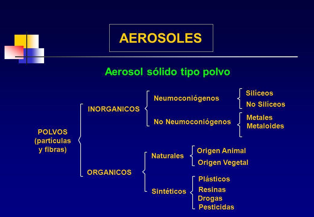 AEROSOLES Aerosol sólido tipo polvo Silíceos Neumoconiógenos