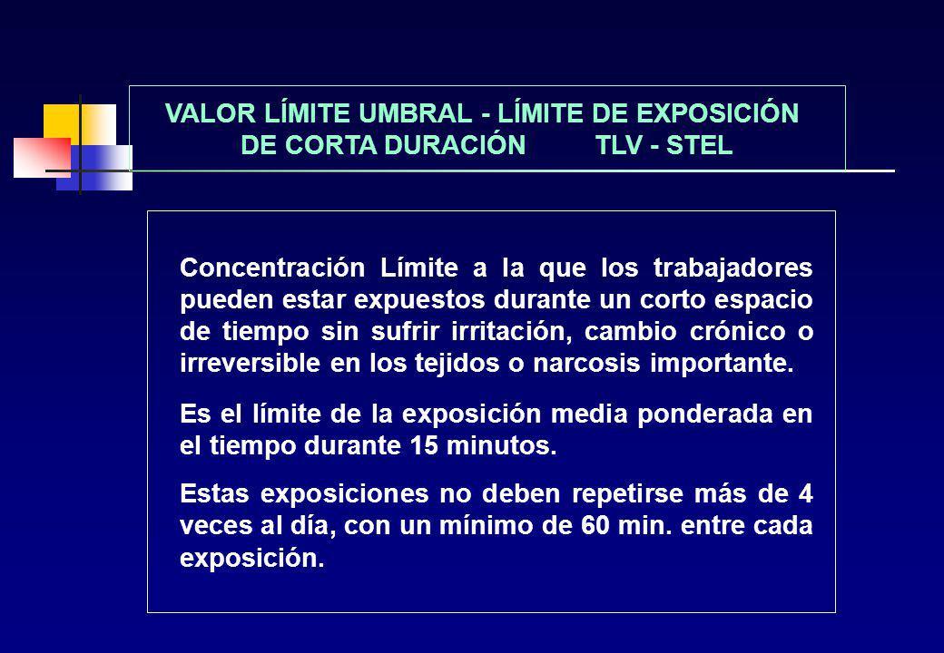 VALOR LÍMITE UMBRAL - LÍMITE DE EXPOSICIÓN