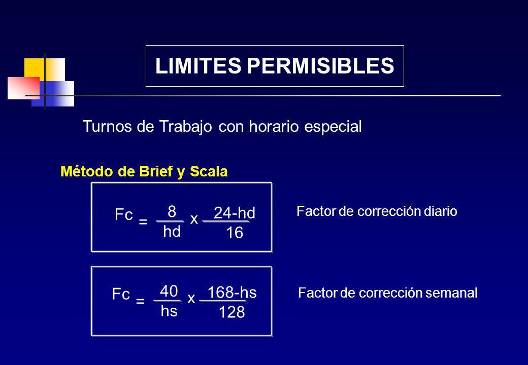 LIMITES PERMISIBLES Turnos de Trabajo con horario especial 8 Fc 24-hd