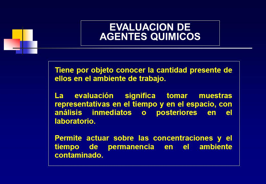 EVALUACION DE AGENTES QUIMICOS