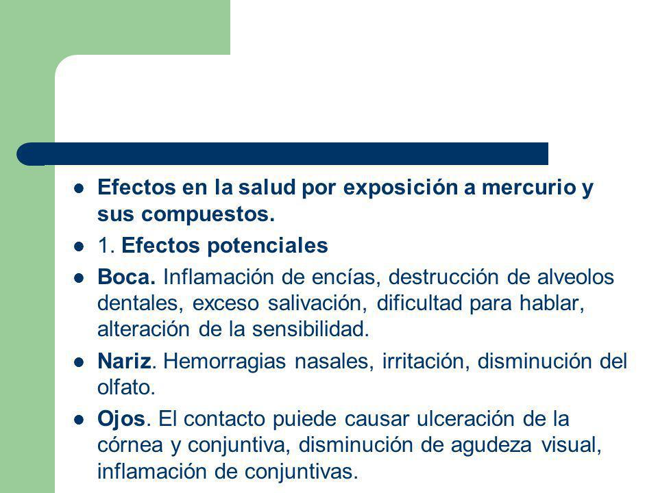 Efectos en la salud por exposición a mercurio y sus compuestos.