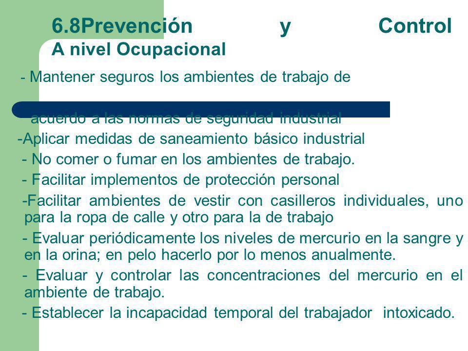 6.8Prevención y Control A nivel Ocupacional