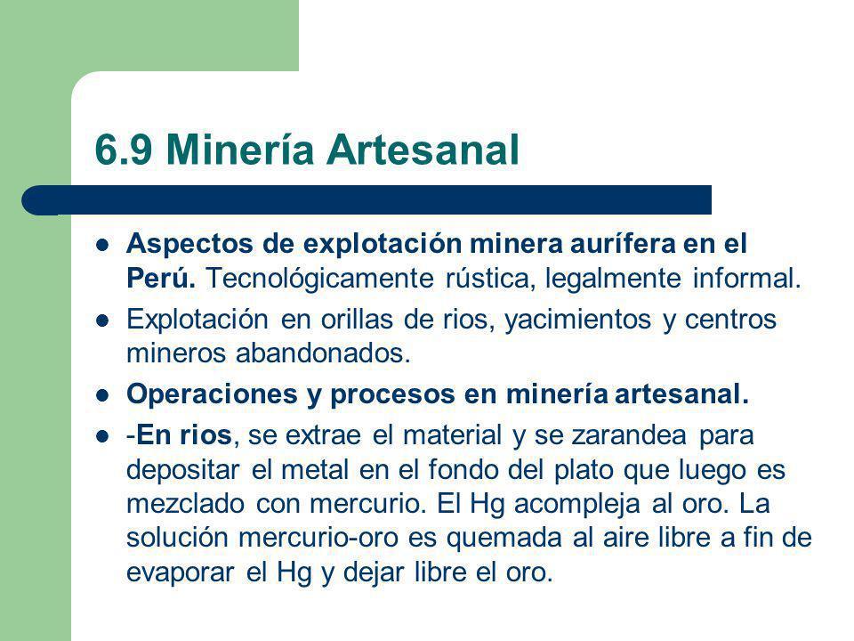 6.9 Minería Artesanal Aspectos de explotación minera aurífera en el Perú. Tecnológicamente rústica, legalmente informal.