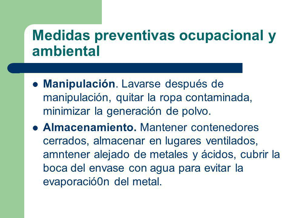Medidas preventivas ocupacional y ambiental