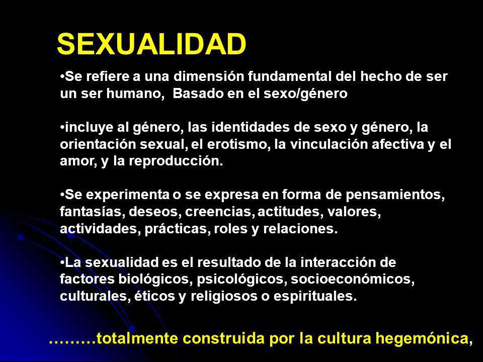 SEXUALIDAD ………totalmente construida por la cultura hegemónica,