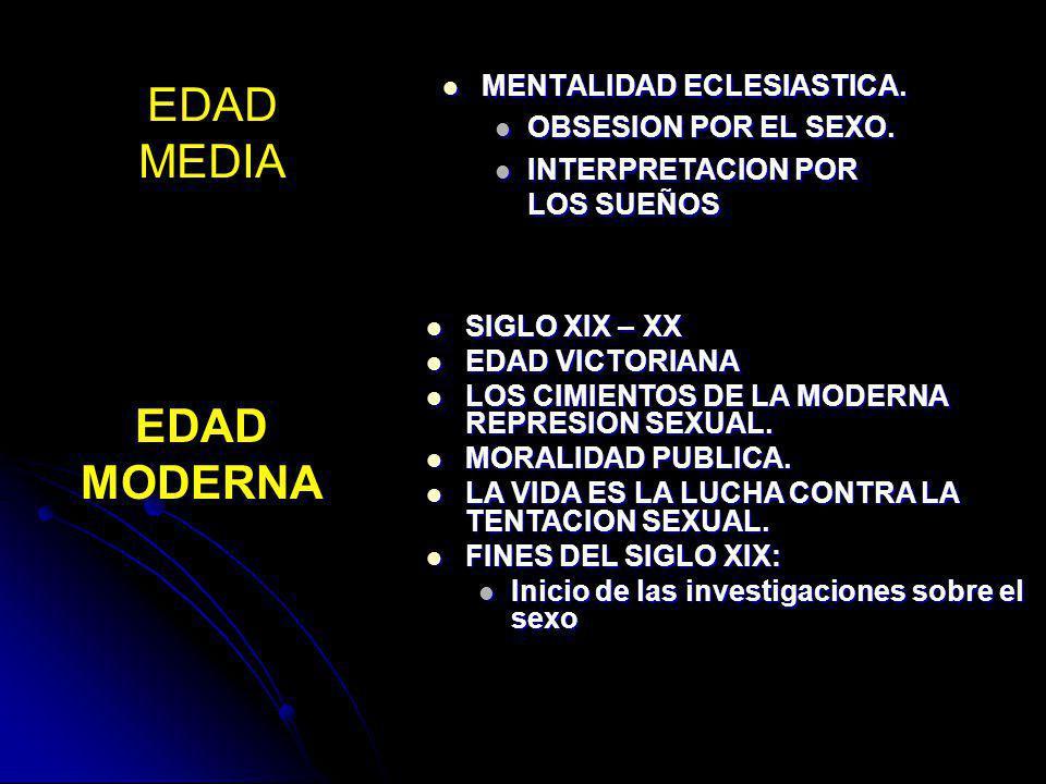 EDAD MEDIA EDAD MODERNA MENTALIDAD ECLESIASTICA. OBSESION POR EL SEXO.