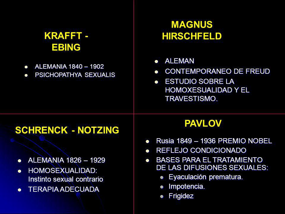 MAGNUS HIRSCHFELD KRAFFT - EBING PAVLOV SCHRENCK - NOTZING
