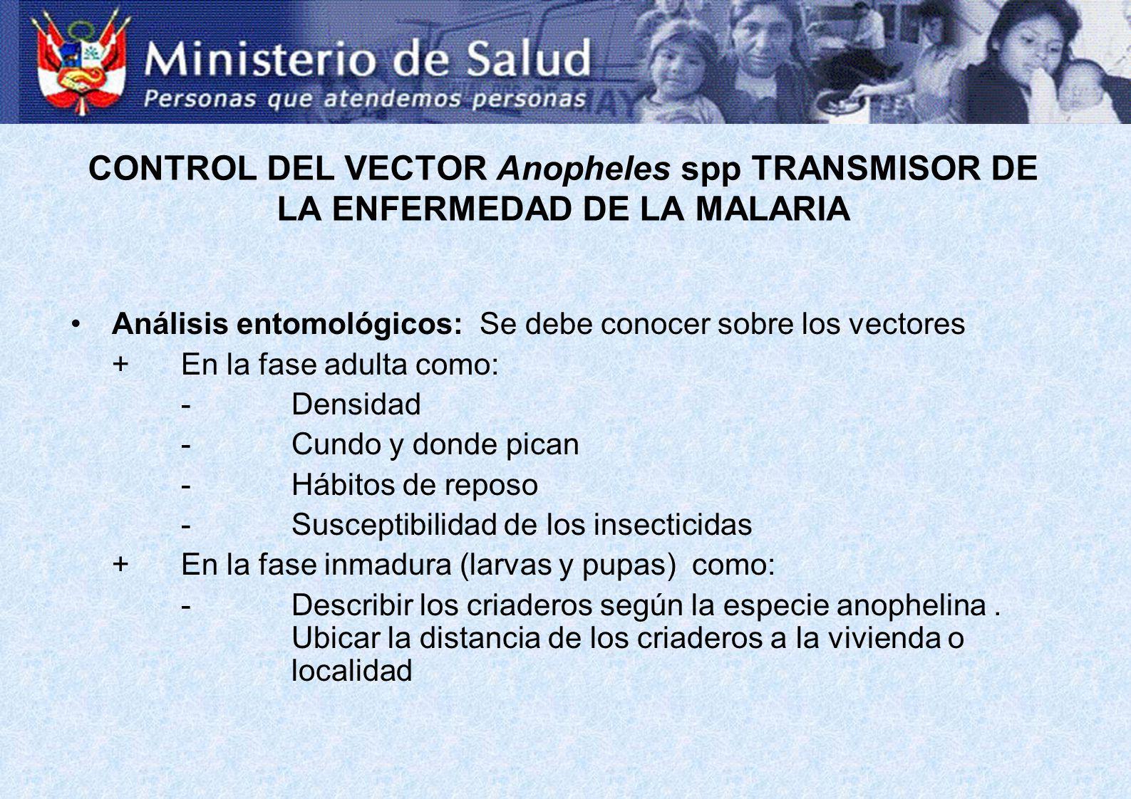 CONTROL DEL VECTOR Anopheles spp TRANSMISOR DE LA ENFERMEDAD DE LA MALARIA