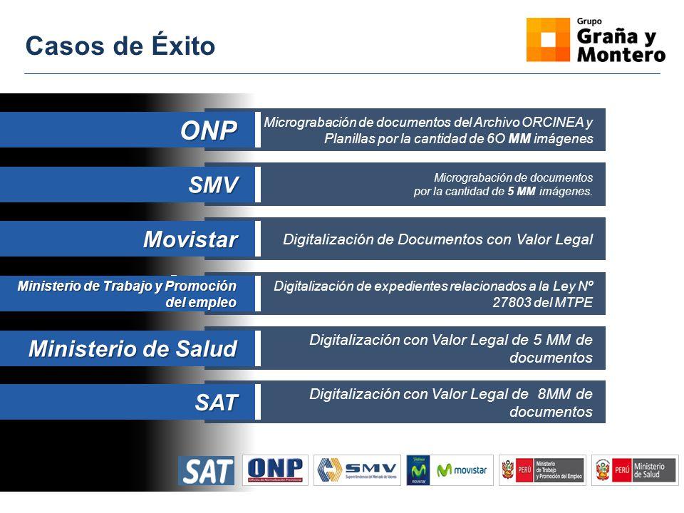 Casos de Éxito ONP SMV Movistar Ministerio de Salud SAT