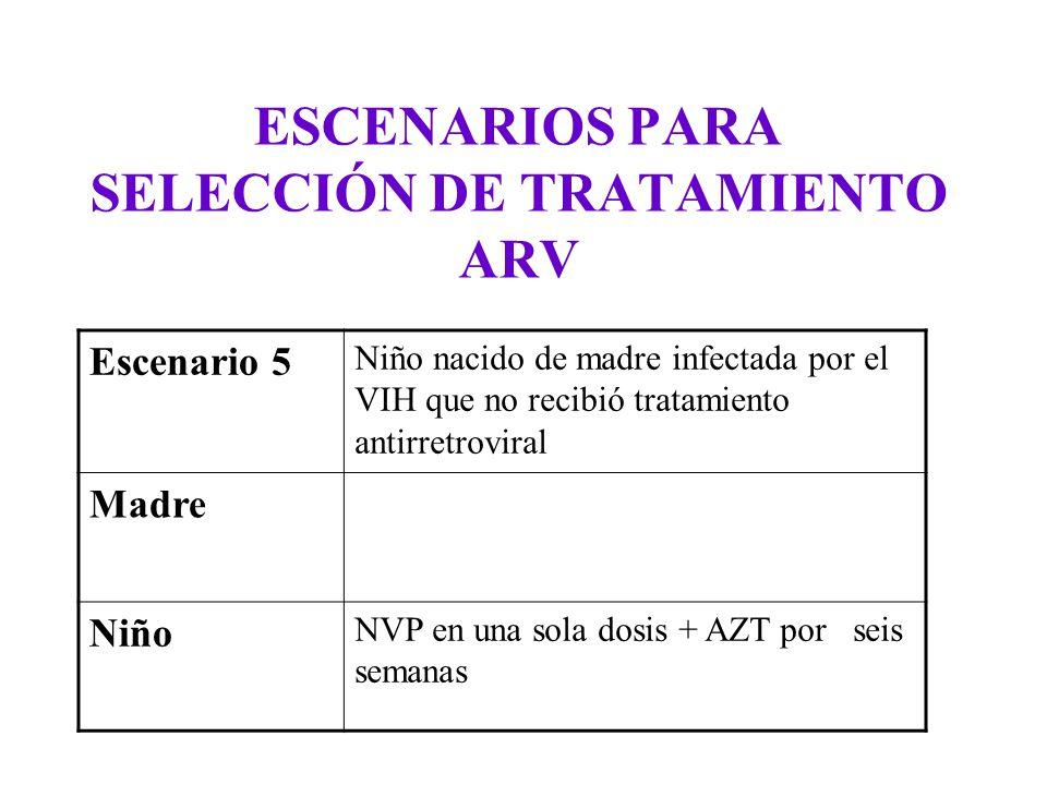 ESCENARIOS PARA SELECCIÓN DE TRATAMIENTO ARV