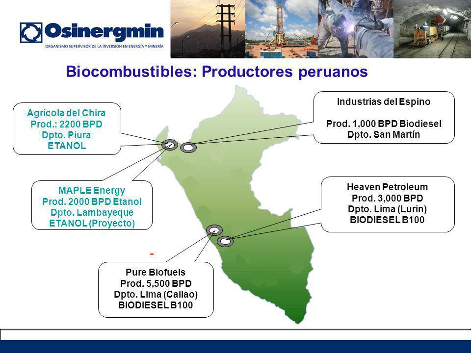 Biocombustibles: Productores peruanos