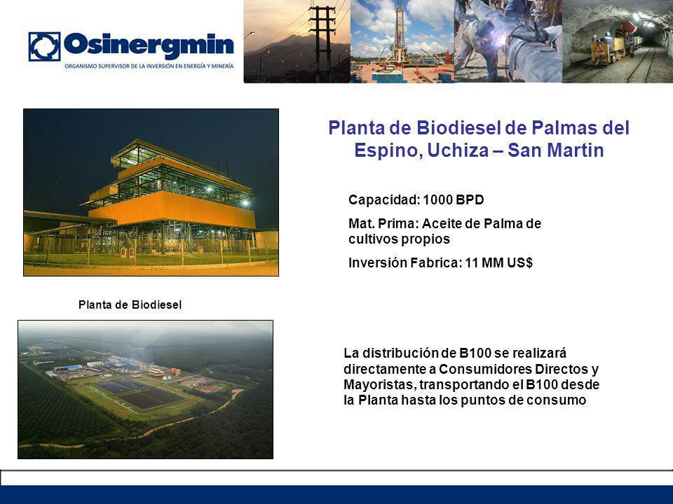 Planta de Biodiesel de Palmas del Espino, Uchiza – San Martin
