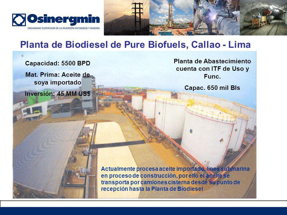 Planta de Biodiesel de Pure Biofuels, Callao - Lima