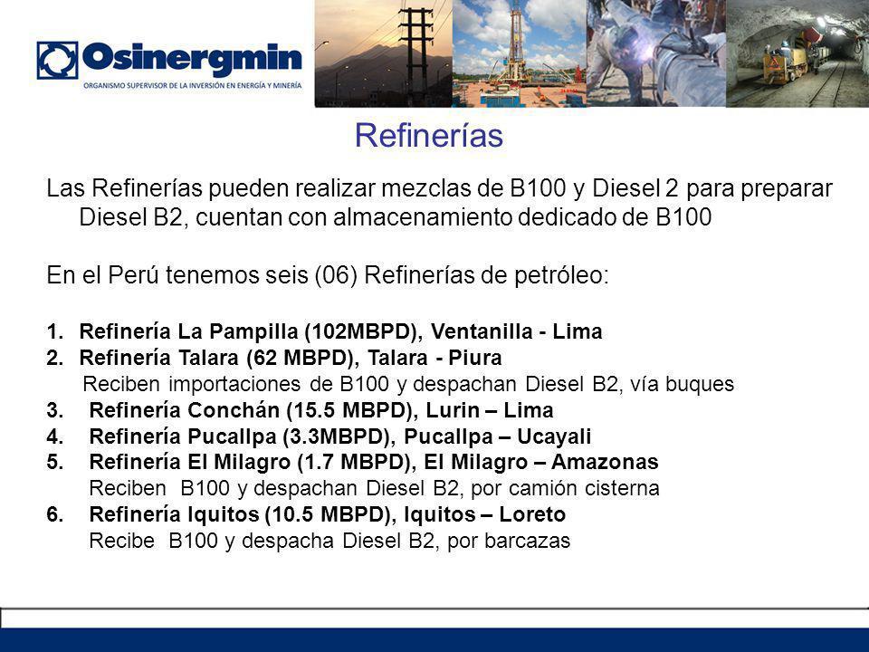 Refinerías Las Refinerías pueden realizar mezclas de B100 y Diesel 2 para preparar Diesel B2, cuentan con almacenamiento dedicado de B100.
