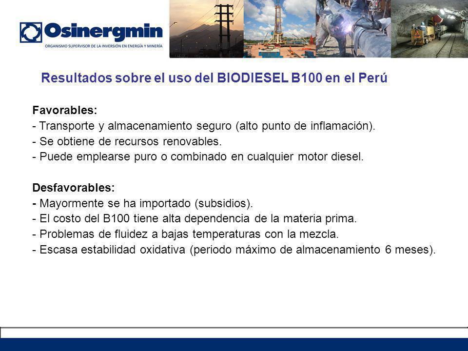 Resultados sobre el uso del BIODIESEL B100 en el Perú