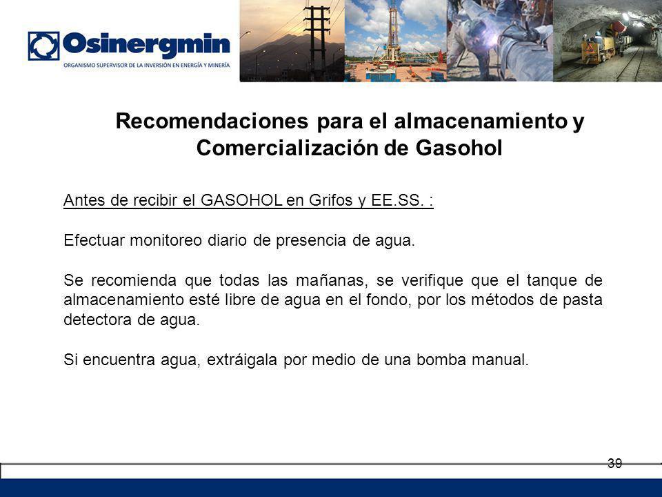 Recomendaciones para el almacenamiento y Comercialización de Gasohol