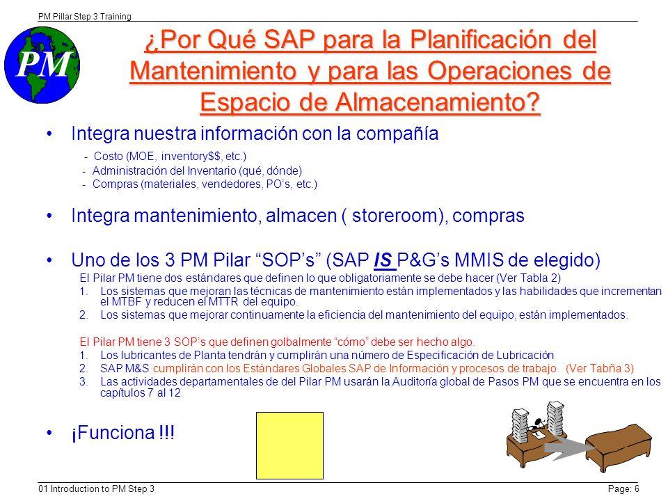 PM Step 3 Trainining 9/8/03. ¿Por Qué SAP para la Planificación del Mantenimiento y para las Operaciones de Espacio de Almacenamiento