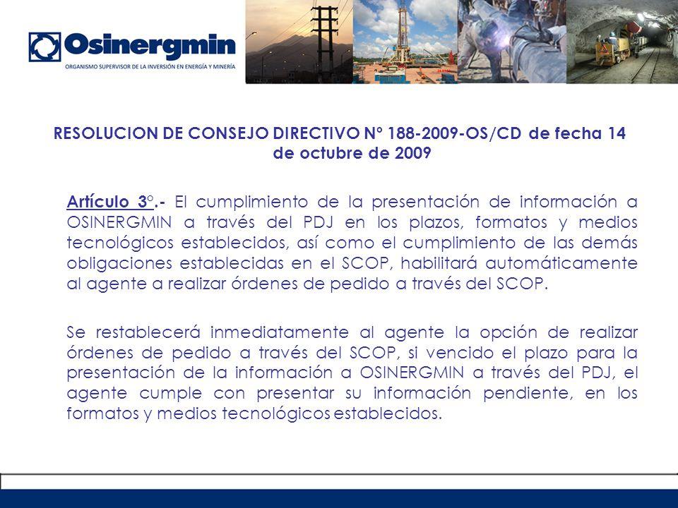 RESOLUCION DE CONSEJO DIRECTIVO Nº 188-2009-OS/CD de fecha 14 de octubre de 2009