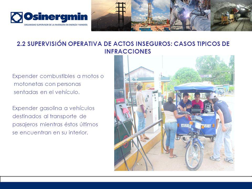 2.2 SUPERVISIÓN OPERATIVA DE ACTOS INSEGUROS: CASOS TIPICOS DE INFRACCIONES
