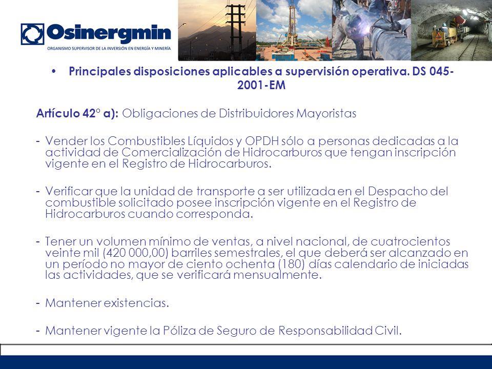 Principales disposiciones aplicables a supervisión operativa