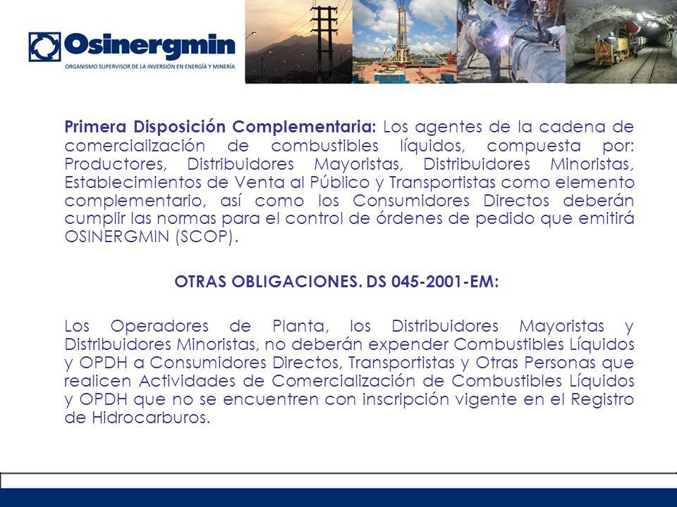OTRAS OBLIGACIONES. DS 045-2001-EM: