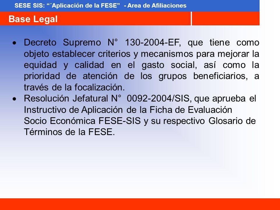 SESE SIS: ´Aplicación de la FESE - Area de Afiliaciones