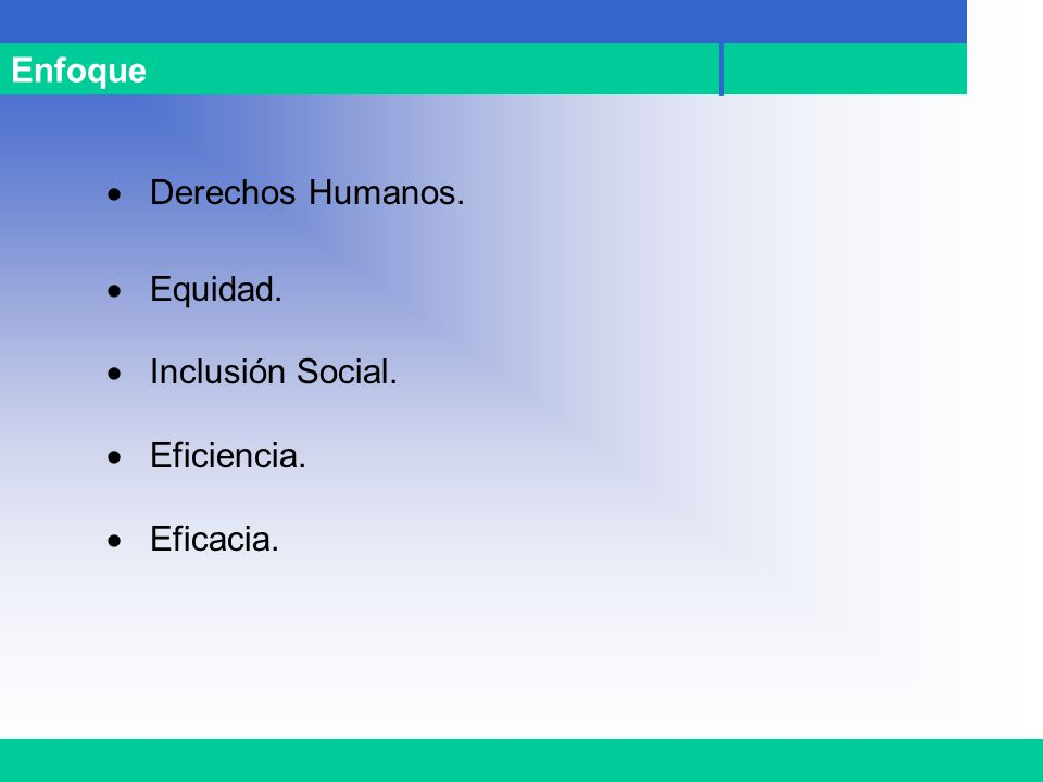 Enfoque · Derechos Humanos. · Equidad. · Inclusión Social. · Eficiencia. · Eficacia.