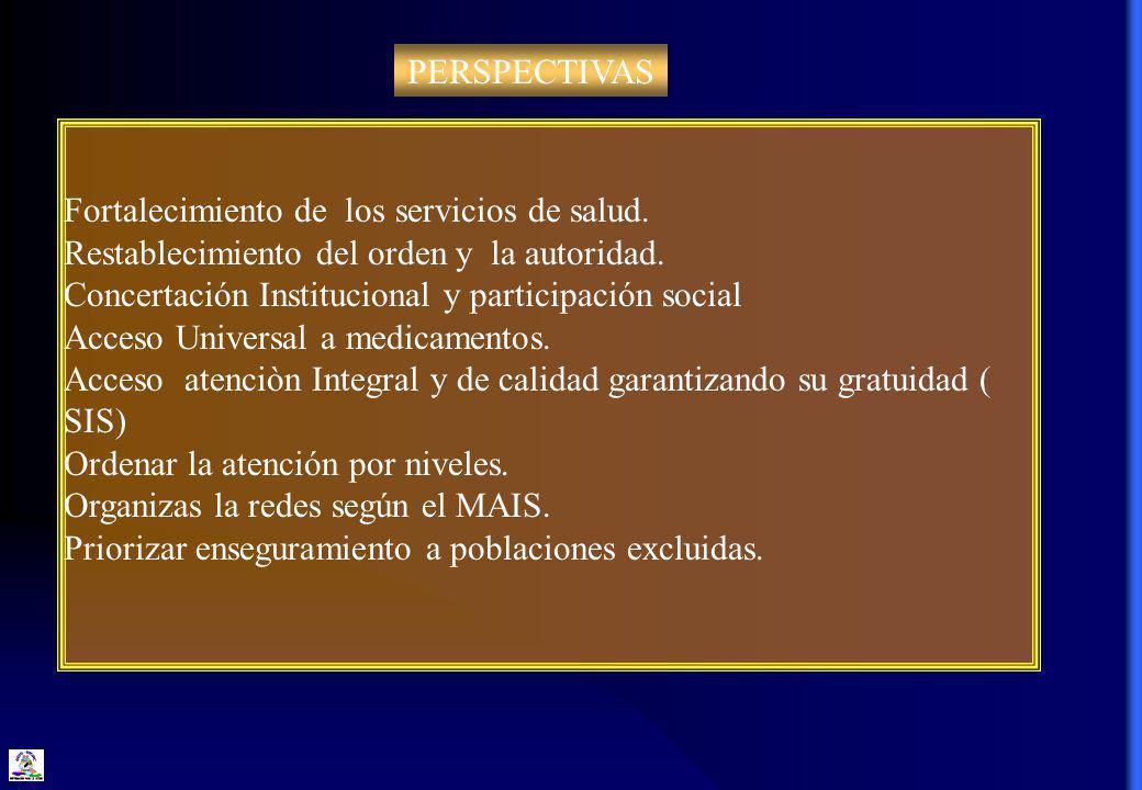 PERSPECTIVAS Fortalecimiento de los servicios de salud. Restablecimiento del orden y la autoridad.