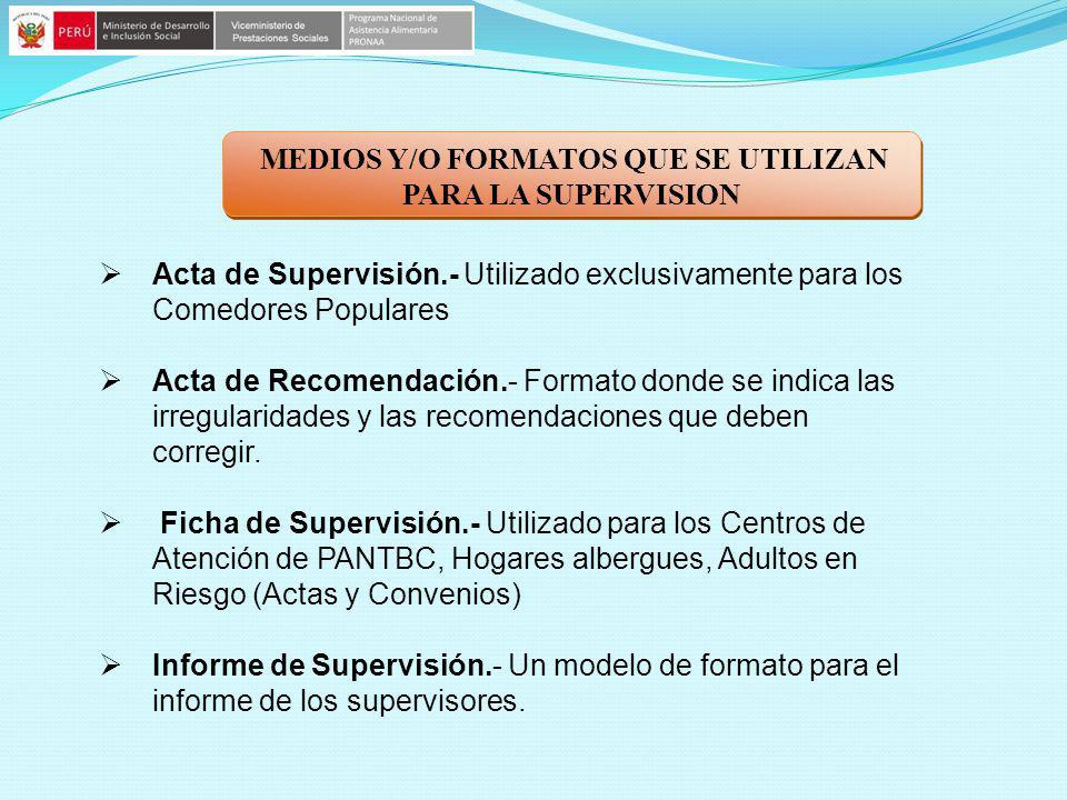 MEDIOS Y/O FORMATOS QUE SE UTILIZAN PARA LA SUPERVISION