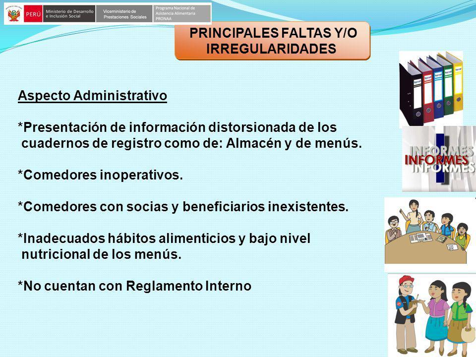 PRINCIPALES FALTAS Y/O IRREGULARIDADES