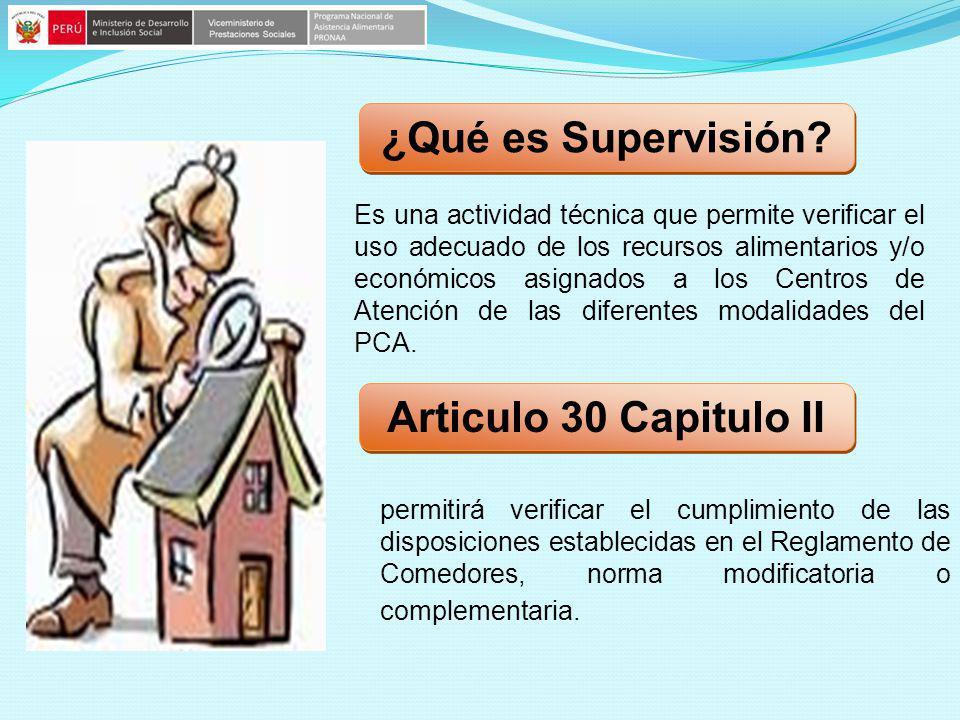 ¿Qué es Supervisión Articulo 30 Capitulo II