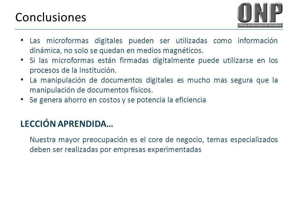Conclusiones LECCIÓN APRENDIDA…
