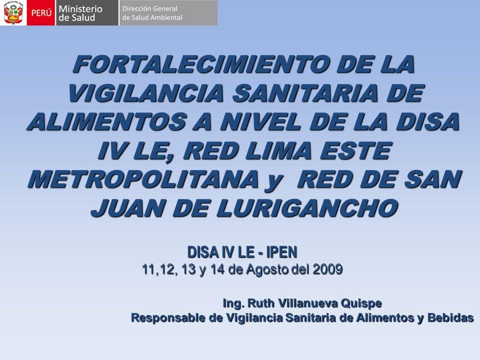 FORTALECIMIENTO DE LA VIGILANCIA SANITARIA DE ALIMENTOS A NIVEL DE LA DISA IV LE, RED LIMA ESTE METROPOLITANA y RED DE SAN JUAN DE LURIGANCHO