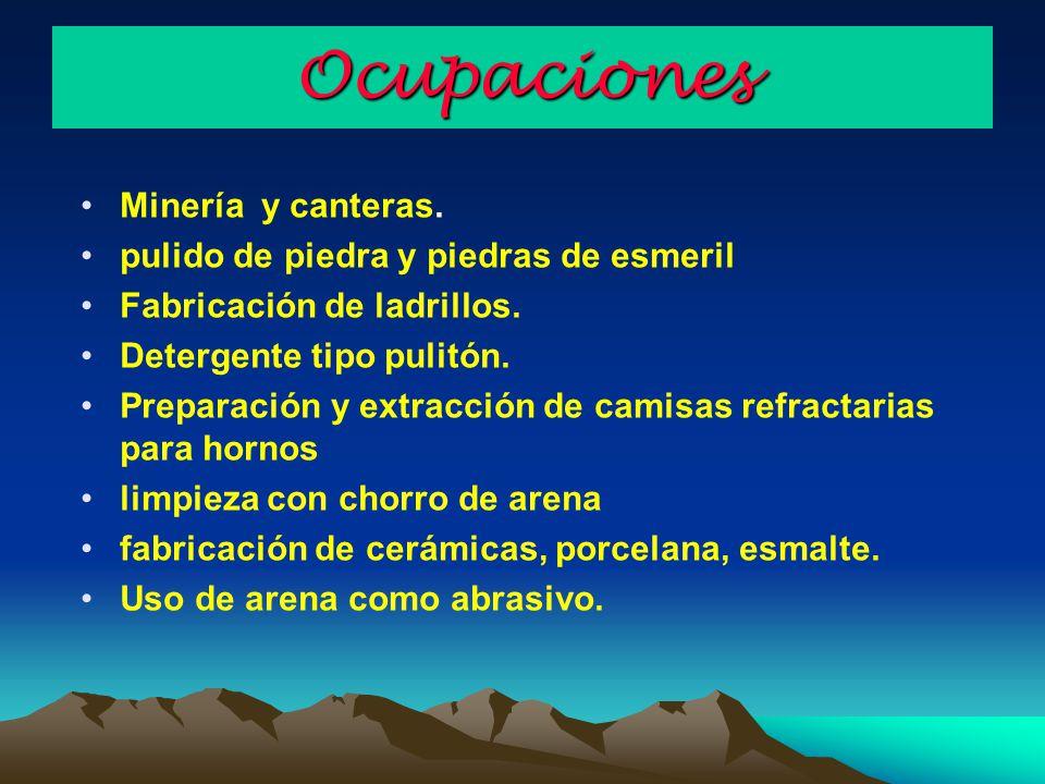 Ocupaciones Minería y canteras. pulido de piedra y piedras de esmeril