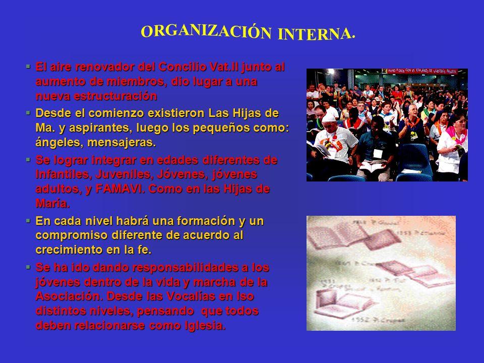 ORGANIZACIÓN INTERNA. El aire renovador del Concilio Vat.II junto al aumento de miembros, dio lugar a una nueva estructuración.