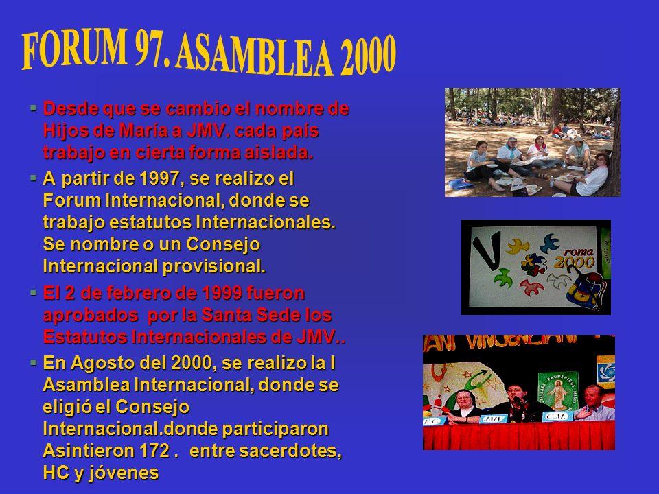 FORUM 97. ASAMBLEA 2000 Desde que se cambio el nombre de Hijos de María a JMV. cada país trabajo en cierta forma aislada.