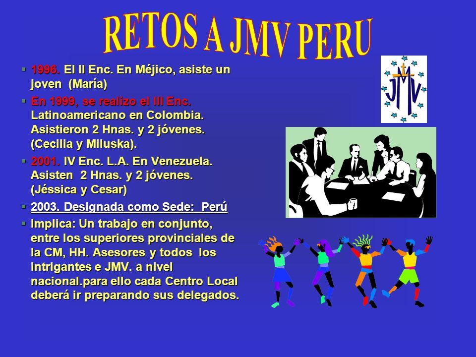 RETOS A JMV PERU 1996. El II Enc. En Méjico, asiste un joven (María)