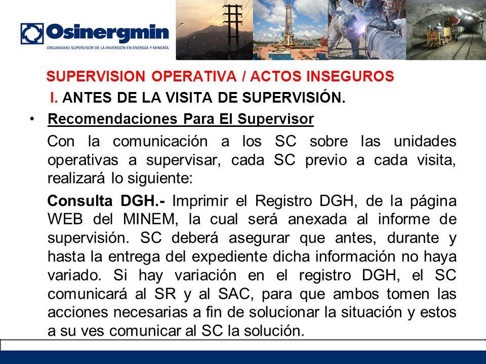SUPERVISION OPERATIVA / ACTOS INSEGUROS