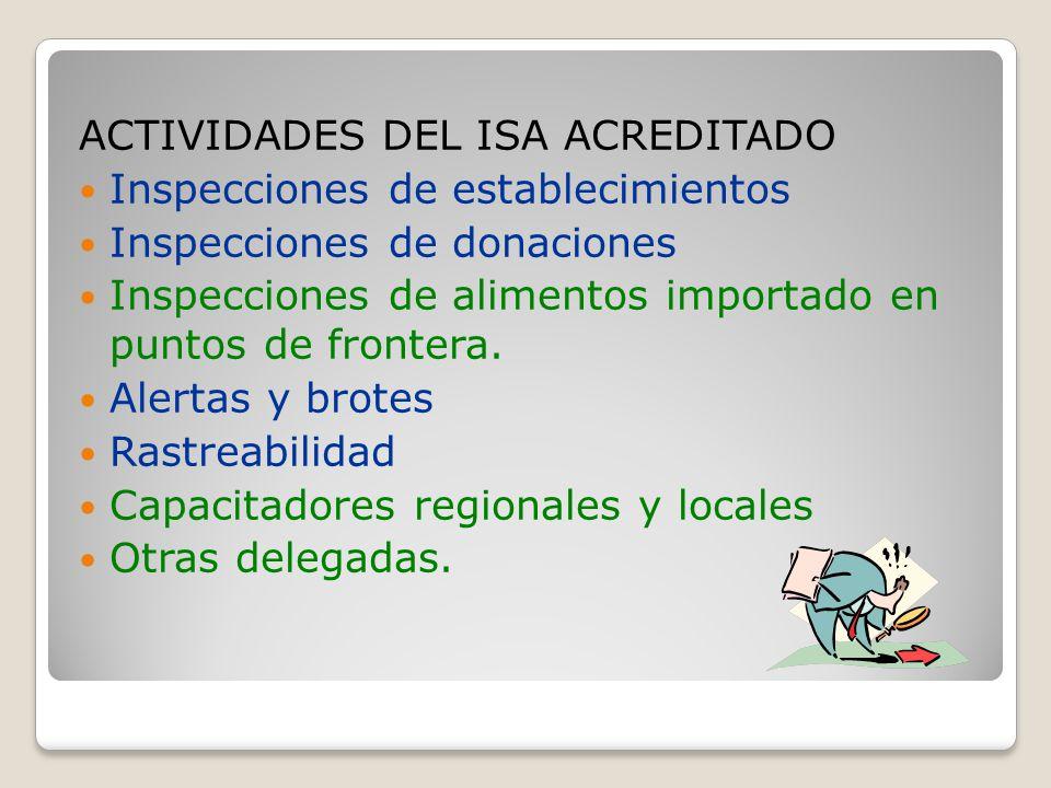 ACTIVIDADES DEL ISA ACREDITADO