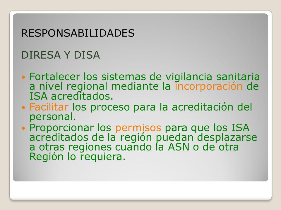RESPONSABILIDADES DIRESA Y DISA. Fortalecer los sistemas de vigilancia sanitaria a nivel regional mediante la incorporación de ISA acreditados.