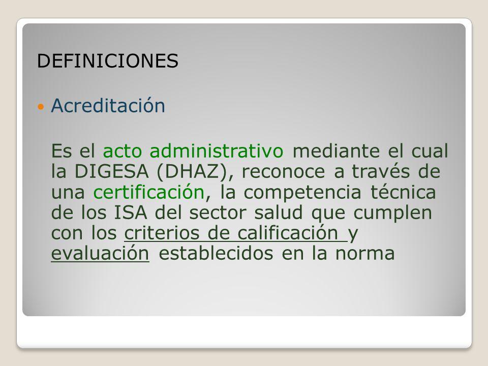 DEFINICIONES Acreditación.