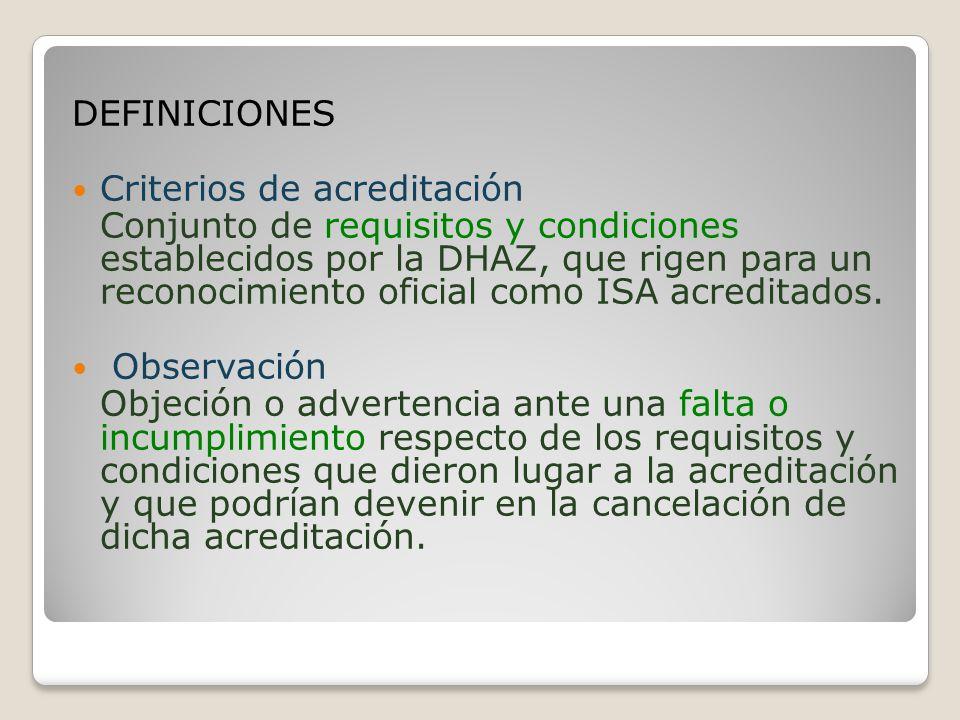 DEFINICIONES Criterios de acreditación.