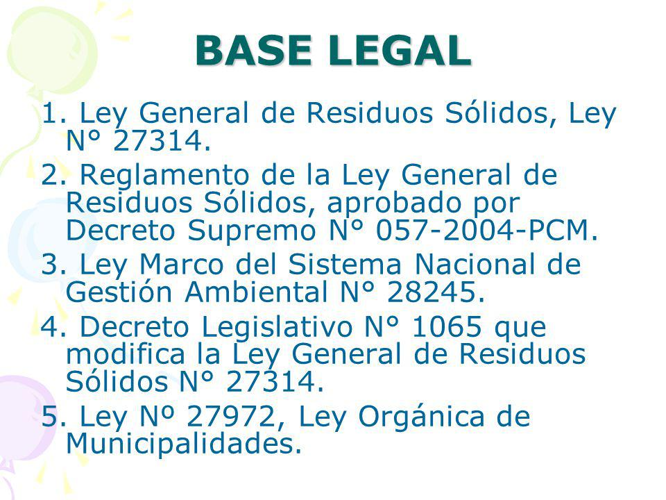BASE LEGAL 1. Ley General de Residuos Sólidos, Ley N° 27314.