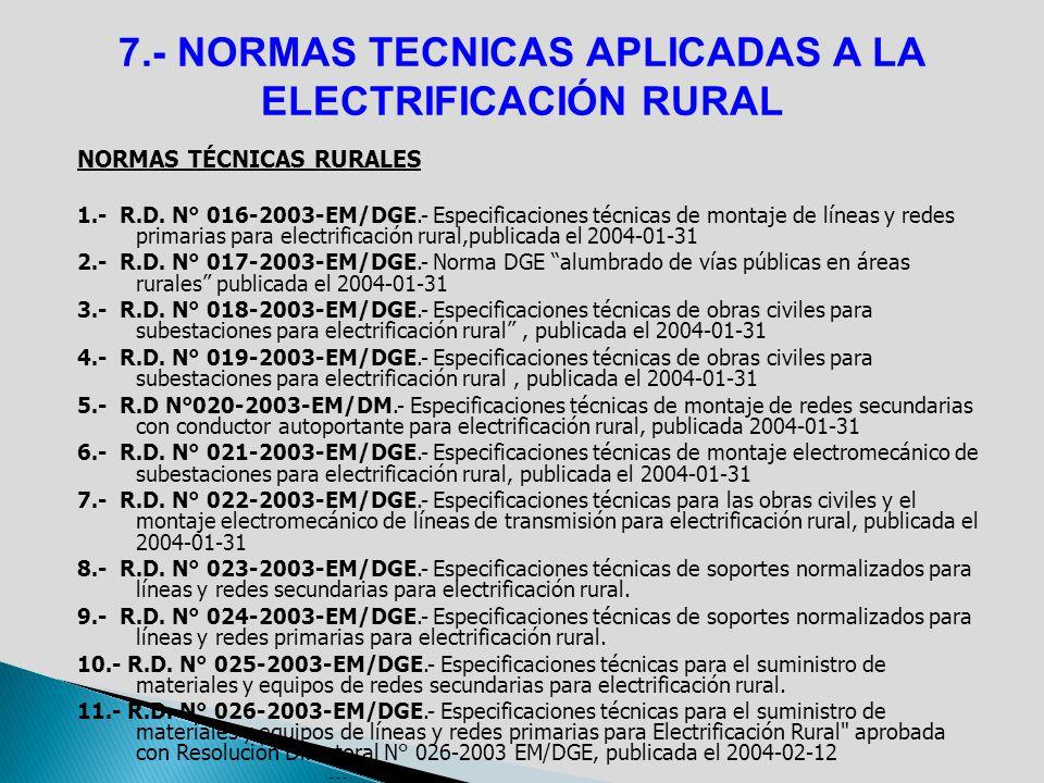 7.- NORMAS TECNICAS APLICADAS A LA ELECTRIFICACIÓN RURAL