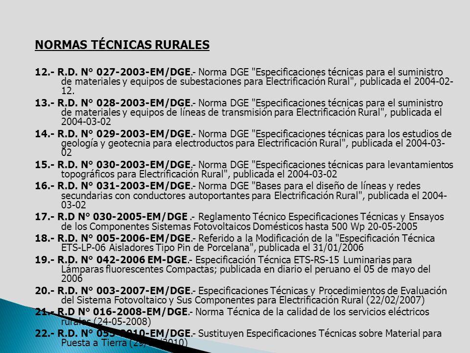 NORMAS TÉCNICAS RURALES
