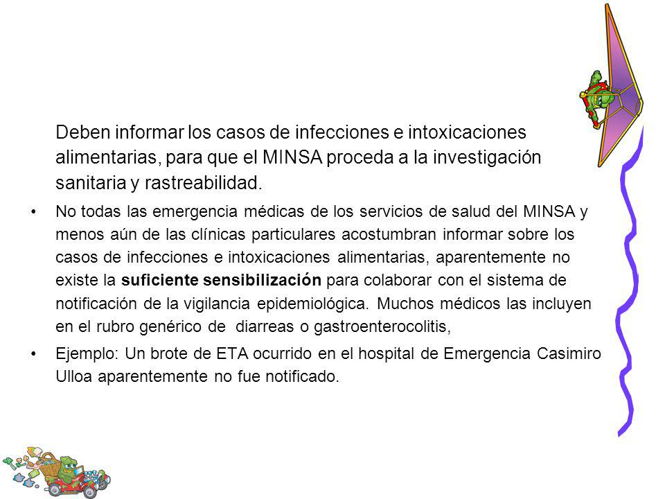 Deben informar los casos de infecciones e intoxicaciones alimentarias, para que el MINSA proceda a la investigación sanitaria y rastreabilidad.