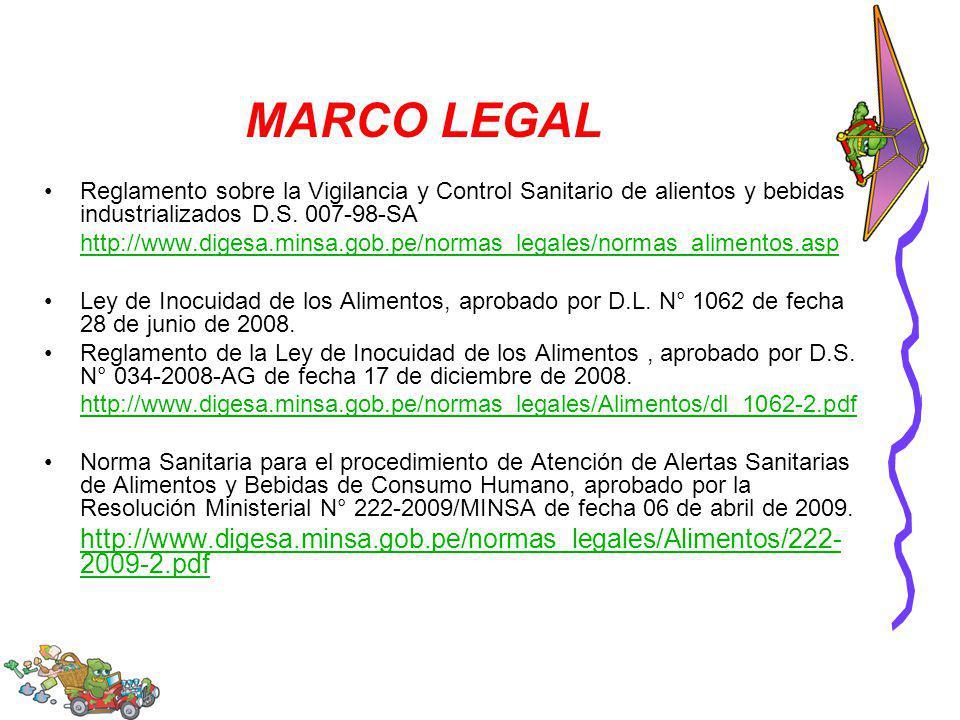 MARCO LEGAL Reglamento sobre la Vigilancia y Control Sanitario de alientos y bebidas industrializados D.S. 007-98-SA.
