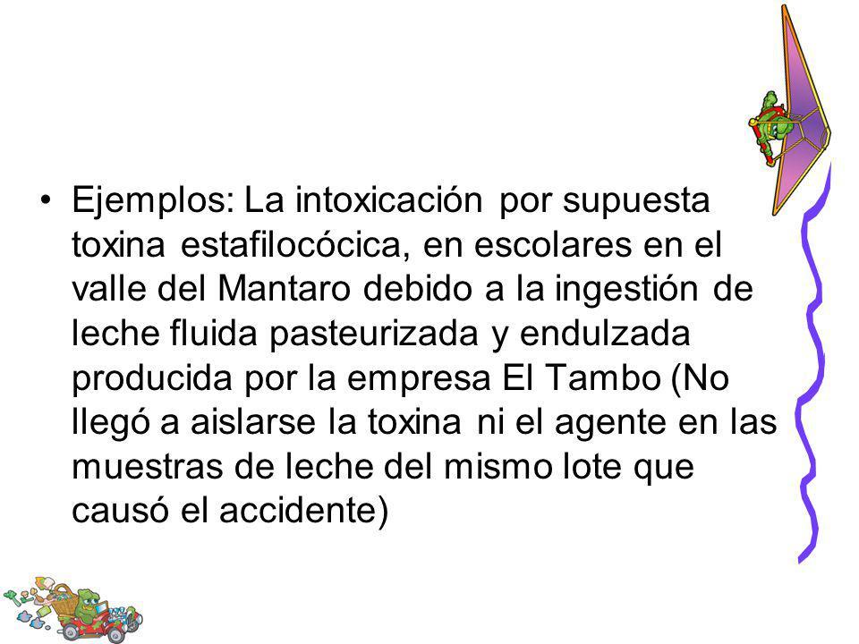 Ejemplos: La intoxicación por supuesta toxina estafilocócica, en escolares en el valle del Mantaro debido a la ingestión de leche fluida pasteurizada y endulzada producida por la empresa El Tambo (No llegó a aislarse la toxina ni el agente en las muestras de leche del mismo lote que causó el accidente)